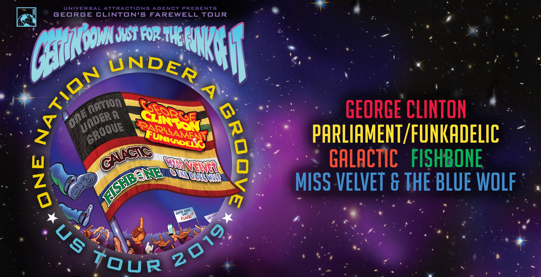 George Clinton,  Parliament/Funkadelic, Galactic, Fishbone, Miss Velvet & The Blue Wolf